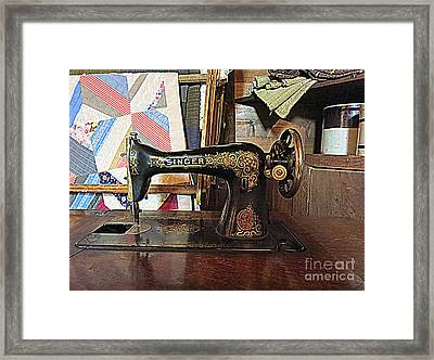 Vintage Sewing Machine Framed Print