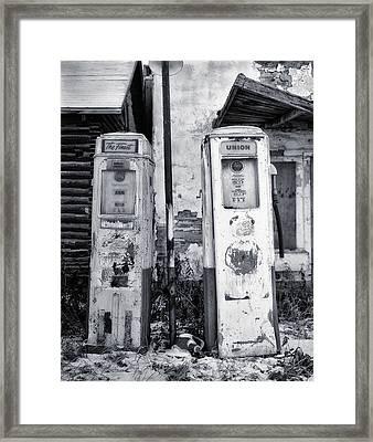 Vintage Shell Gas Pumps Framed Print by Jack Zulli