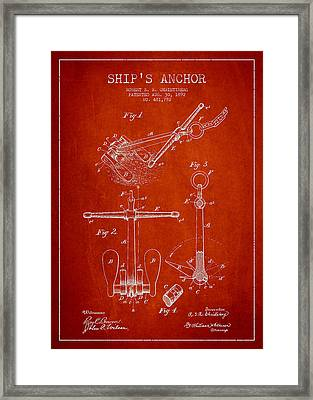 Vintage Ship Anchor Patent From 1892 Framed Print by Aged Pixel