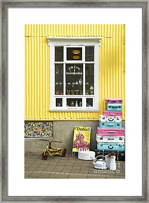 Vintage Shop In Akureyri Iceland Framed Print