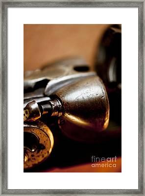 Vintage Shotgun Macro Framed Print by Wilma  Birdwell
