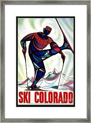 Vintage Ski Colorado Travel Poster Framed Print