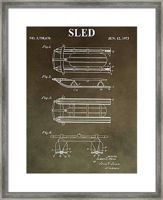 Vintage Sled Patent Framed Print by Dan Sproul