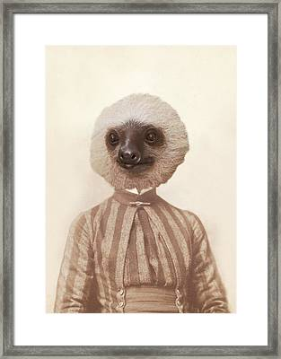 Vintage Sloth Girl Portrait Framed Print