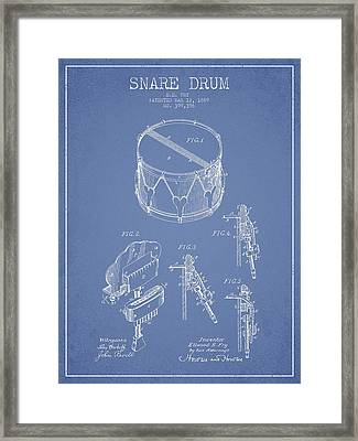 Vintage Snare Drum Patent Drawing From 1889 - Light Blue Framed Print