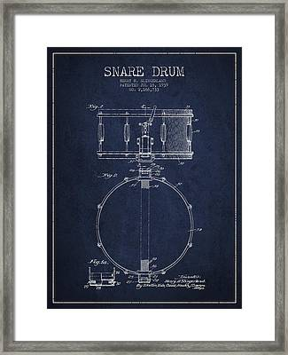 Snare Drum Patent Drawing From 1939 - Blue Framed Print by Aged Pixel
