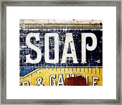 Vintage Soap Crate In Country Yellow And Blue Framed Print by Lisa Russo