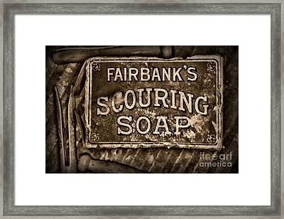 Vintage Soap In Sepia Framed Print