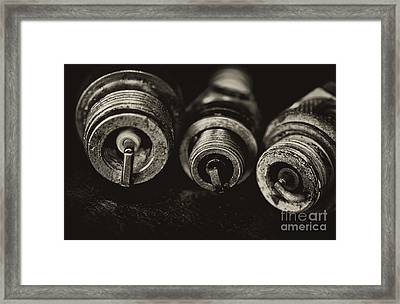 Vintage Spark Plugs  Framed Print by Wilma  Birdwell