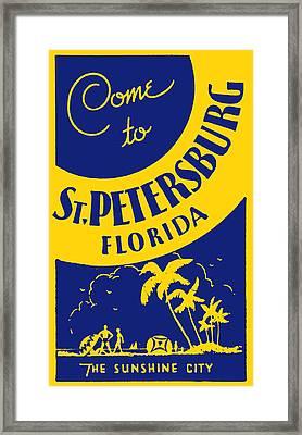 Vintage St. Petersburg Florida Poster Framed Print