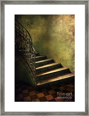 Vintage Staircase With Tiles And Ornamented Handrail Framed Print by Jaroslaw Blaminsky