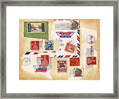 Framed Print featuring the photograph Vintage Stamps On Old Postcard by Vizual Studio