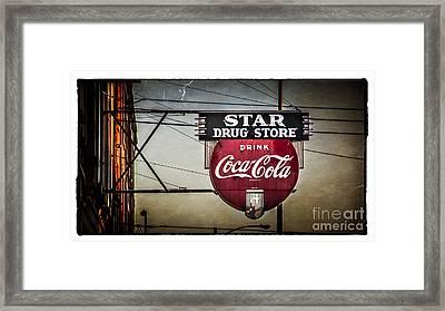 Vintage Star Drug Store Framed Print by Perry Webster