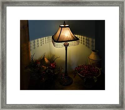 Vintage Still Life And Lamp Framed Print