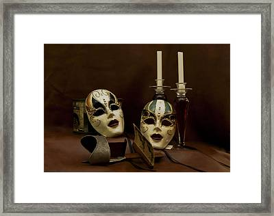 Framed Print featuring the photograph Vintage Still Life Of Venitian Mask by Debra Crank
