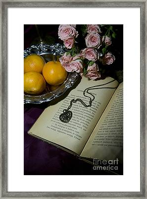 Vintage Still Life With Roses Books And Tangerines Framed Print