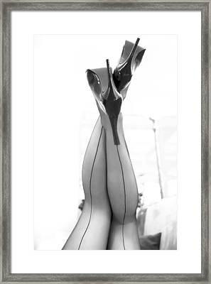 Framed Print featuring the photograph Vintage Stockinged Legs by Mez