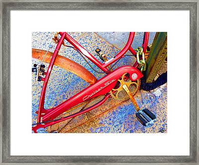 Vintage Street Bicycle Photo Detail Framed Print by Tony Rubino