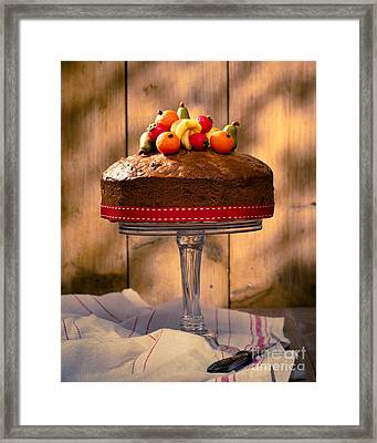 Vintage Style Fruit Cake Framed Print by Amanda Elwell