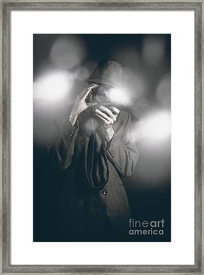 Vintage Style Photo Journalist Shooting A Premiere Framed Print by Jorgo Photography - Wall Art Gallery