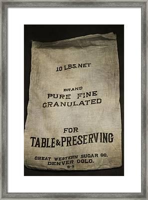 Vintage Sugar Bag Framed Print