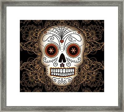 Vintage Sugar Skull Framed Print by Tammy Wetzel