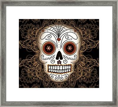 Vintage Sugar Skull Framed Print by Tammy Wetzel