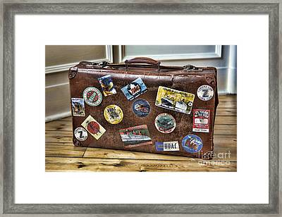 Framed Print featuring the photograph Vintage Suitcase With Labels by Craig B