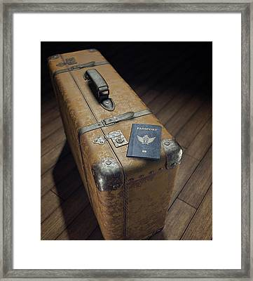 Vintage Suitcase With Passport Framed Print by Ktsdesign