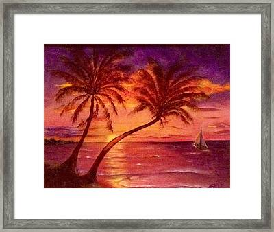 Vintage Sunset Sail  Framed Print