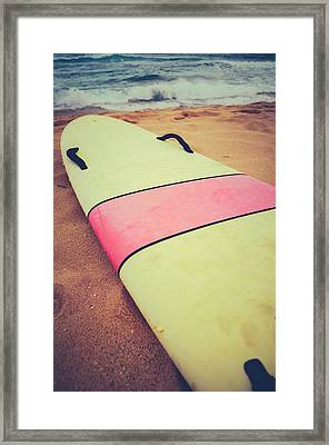 Vintage Surf Board In Hawaii Framed Print by Mr Doomits