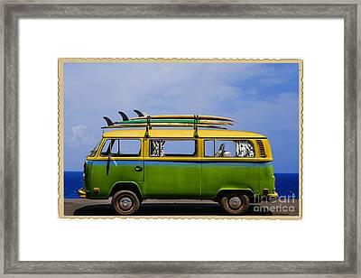 Vintage Surf Van Framed Print by Diane Diederich