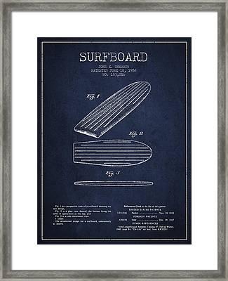 Vintage Surfboard  Patent From 1958 Framed Print