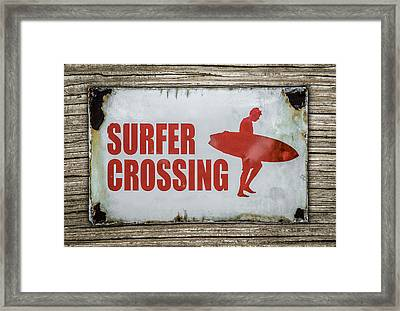 Vintage Surfer Crossing Sign On Wood Framed Print by Mr Doomits