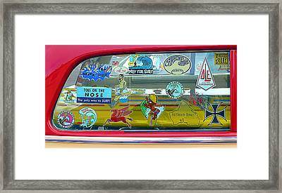 Vintage Surfing Decals Framed Print by Ron Regalado