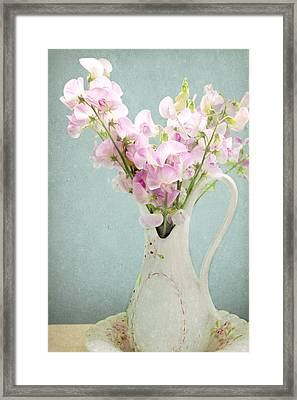 Framed Print featuring the photograph Vintage Sweet Peas In A Pitcher by Peggy Collins