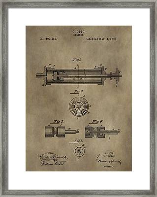 Vintage Syringe Patent Drawing Framed Print by Dan Sproul