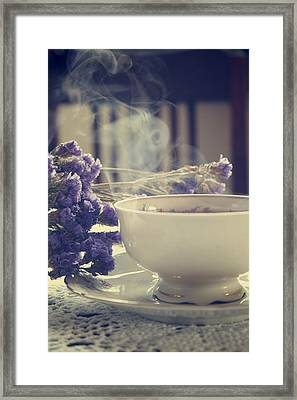 Vintage Tea Set With Purple Flowers Framed Print by Cambion Art