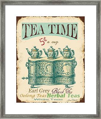 Vintage Tea Time Sign Framed Print by Jean Plout