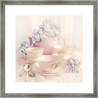 Vintage Teacups Framed Print by Theresa Tahara