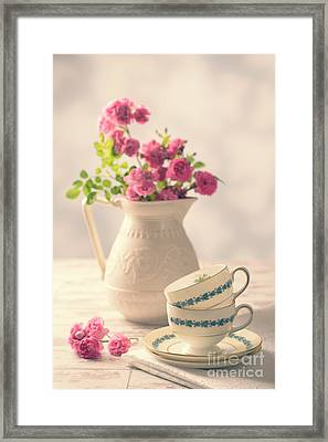 Vintage Teacups With Roses Framed Print