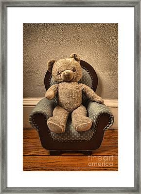 Vintage Teddy Bear In A Chair Framed Print