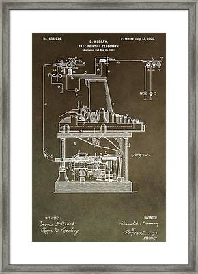 Vintage Telegraph Patent Framed Print by Dan Sproul