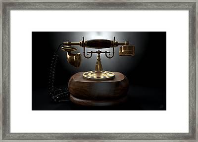 Vintage Telephone Dark Isolated Framed Print