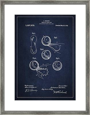 Vintage Tennis Ball Patent Drawing From 1914 Framed Print