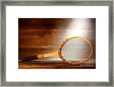 Vintage Tennis Racket Framed Print by Olivier Le Queinec