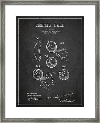 Vintage Tennnis Ball Patent Drawing From 1914 Framed Print by Aged Pixel