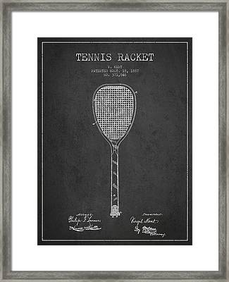 Vintage Tennnis Racket Patent Drawing From 1887-dark Framed Print by Aged Pixel