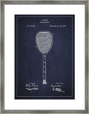 Vintage Tennnis Racket Patent Drawing From 1887-navy Blue Framed Print by Aged Pixel