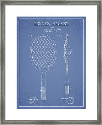 Vintage Tennnis Racket Patent Drawing From 1921 Framed Print